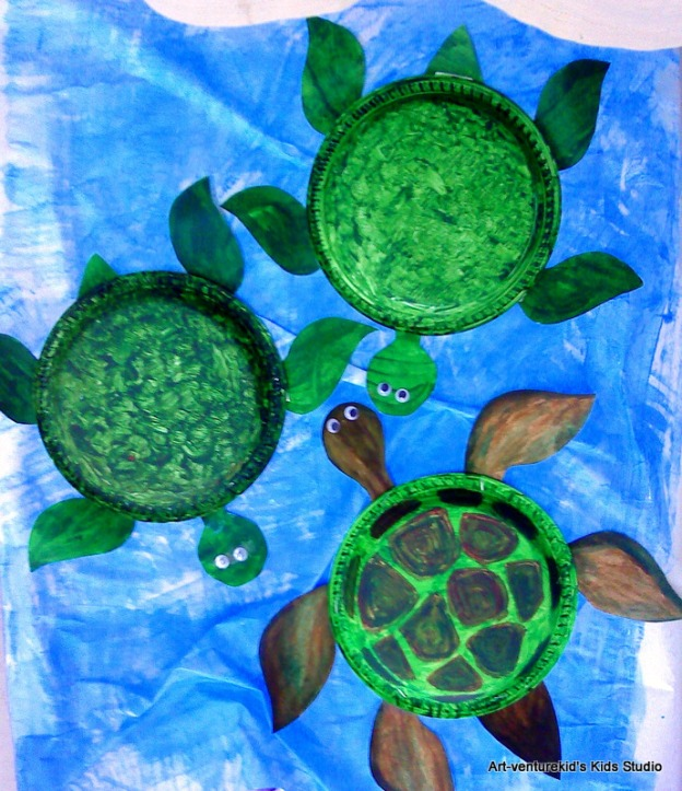 Sea turtle from paper plate art venture kids 39 studio for Turtle arts and crafts